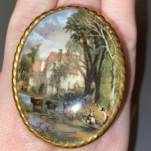 Hand Painted Aynsley Pin Brooch Made in England